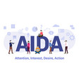 aida attention interest desire action concept vector image vector image