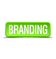 Branding green 3d realistic square isolated button vector image vector image