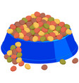 colorful cartoon pet overfilled food bowl vector image