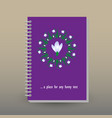 cover of diary or notebook snowdrop mandala vector image vector image