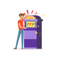 crazy depressed man gambling at slot machine bad vector image vector image