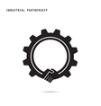 Creative handshake sign and industrial idea vector image