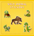 cute cartoon wild animals on sticker vector image vector image