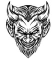 devil head with long beard and scare smile vector image