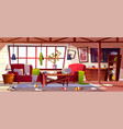 dirty apartment with scattered clothes vector image vector image