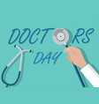 doctor day concept doctor hand holding vector image vector image