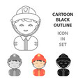 fireman cartoon icon for web and vector image