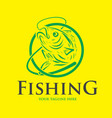 fishing logo design template vector image vector image