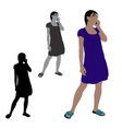 flat colored of a woman talking on a mobile phone vector image vector image