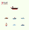 flat icon ship set of boat sailboat transport vector image vector image