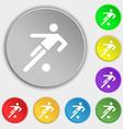 football player icon Symbols on eight flat buttons vector image