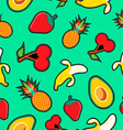 Fruit seamless background with cartoon designs vector image vector image