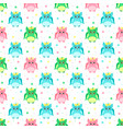 green pink blue owls with bows vector image