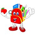 Happy bag giving thumb up with apple vector image vector image