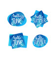hello summer and hello june doodle handdrawn vector image