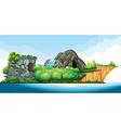Island in the middle of the ocean vector image vector image