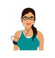 jogging girl cartoon draw vector image vector image