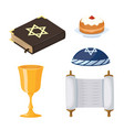 judaism church traditional symbols icons set vector image vector image