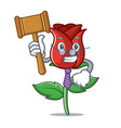 judge red rose mascot cartoon vector image vector image