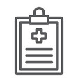 medical record line icon hospital and medicine vector image vector image