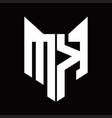 mk logo monogram with fox head shape design vector image vector image