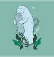mother and cub manatee with algae on a green vector image