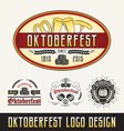 Oktoberfest celebration logo sets beer and beverag vector image