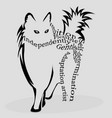 powerful cat with words inside vector image vector image