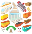 Railway icons set cartoon style vector image vector image
