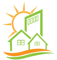 Residential green house and sun vector | Price: 1 Credit (USD $1)
