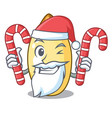 santa with candy cedar pine nuts isolated on vector image