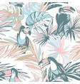 seamless pattern ink hand drawn sketch tropical vector image vector image