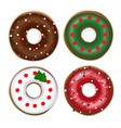 set of donuts with a christmas tree vector image