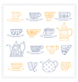 Set of teacups and teapots vector image