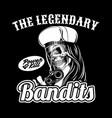 skull legendary bandit holding gun hand vector image vector image