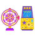 slot machine with rocket and fortune wheel vector image vector image