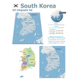 South Korea maps with markers vector image vector image