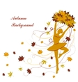 Tender ballerina is holding maple leaves vector image