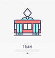 tram thin line icon side view vector image vector image