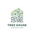 tree house root leaf logo icon vector image
