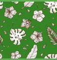 tropical palm leaf seamless pattern background vector image