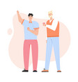 two young guys talking drinking coffee vector image