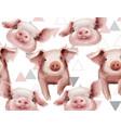 watercolor pig year pattern watercolor vector image vector image