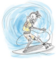 watercolor surfer skeleton hand drawn on wave vector image