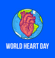 world day of heart concept background hand drawn vector image