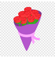 red roses bouquet isometric icon vector image
