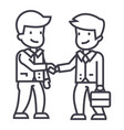 businessmen handshaking line icon sign vector image