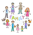 family kids draw vector image
