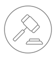 Auction gavel line icon vector image vector image