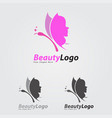 beauty logo style butterfly vector image